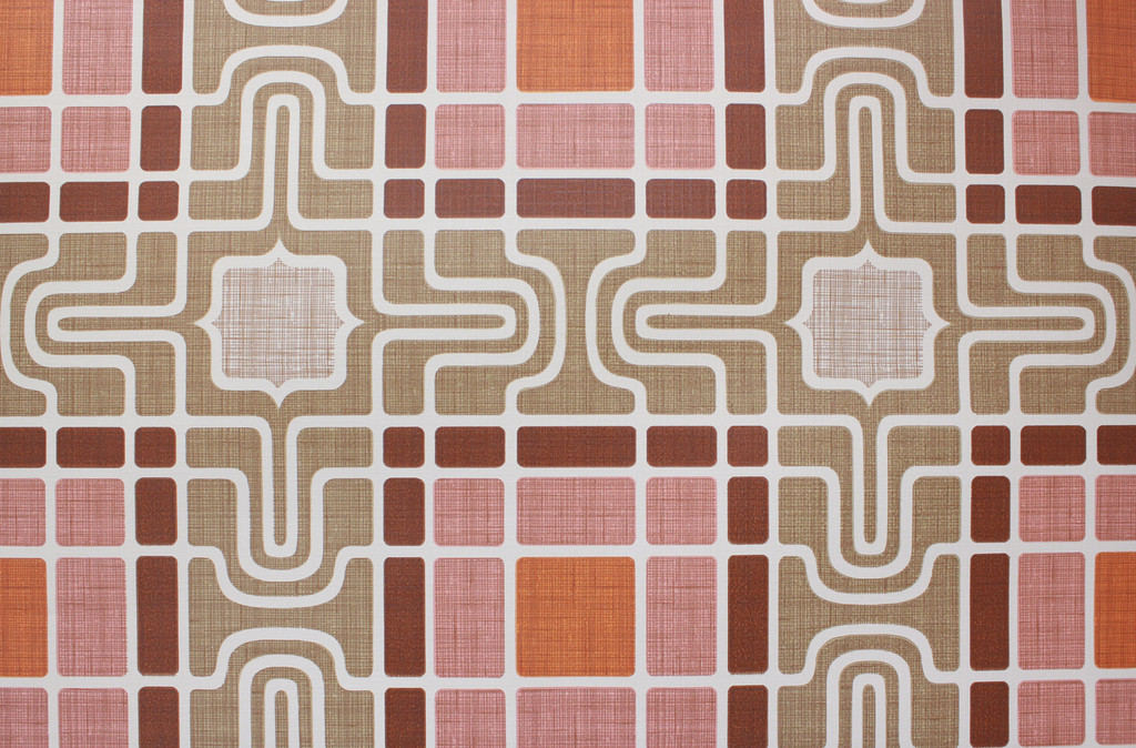 1970s Vintage Wallpaper Retro Geometric Pink and Brown