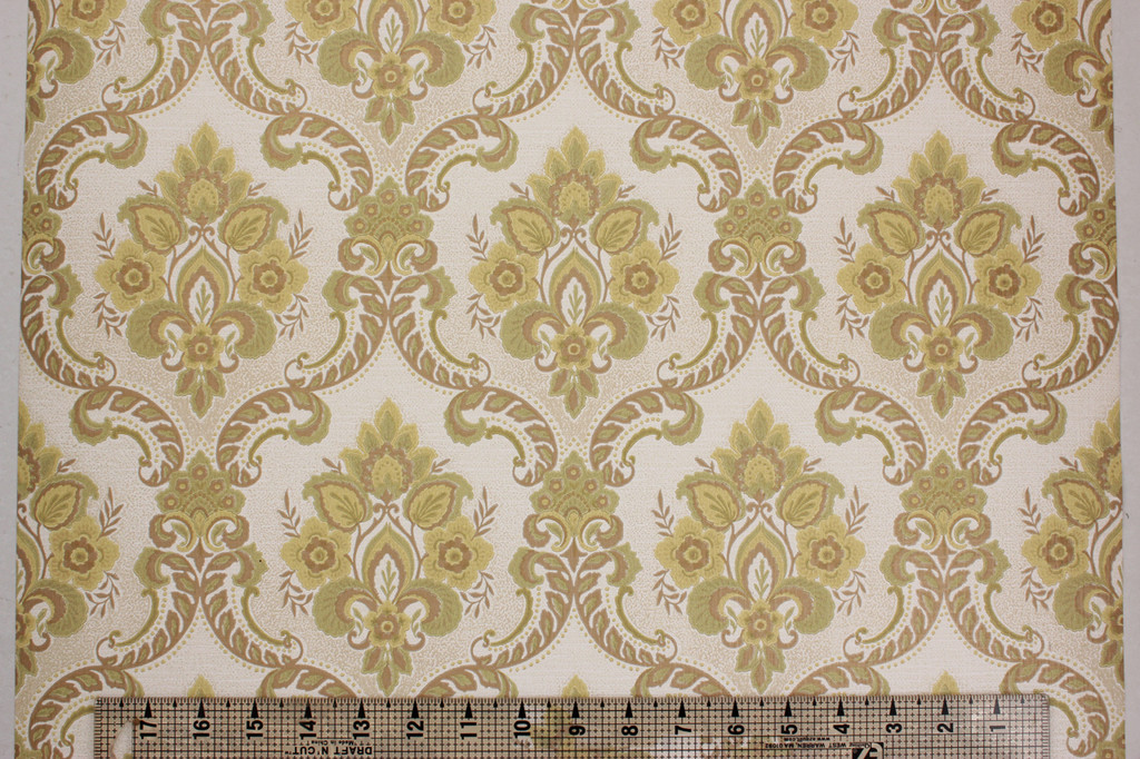 1970s Vintage Wallpaper Retro Green and Gold Damask Vinyl