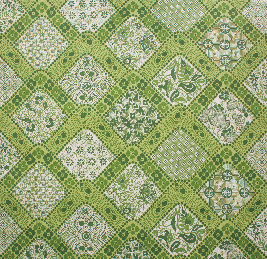 1970s Vintage Wallpaper Green Geometric Floral