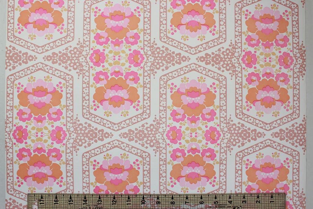 1970s Vintage Wallpaper Retro Pink and Orange Flowers Vinyl