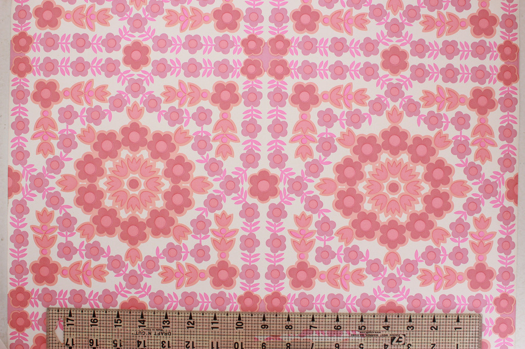 1970s Vintage Wallpaper Retro Pink Geometric Floral