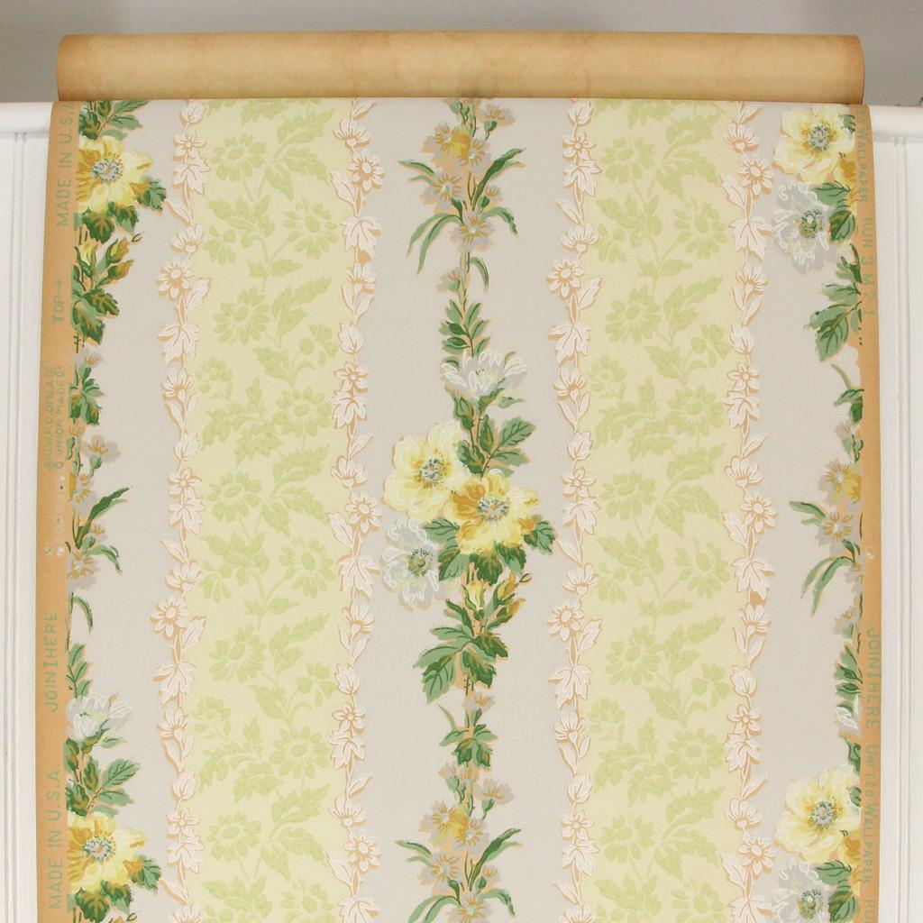 1930s Vintage Wallpaper Yellow Flowers