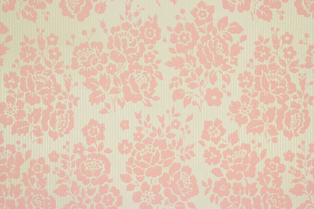 1960s Vintage Wallpaper Rose Bouquets Pink