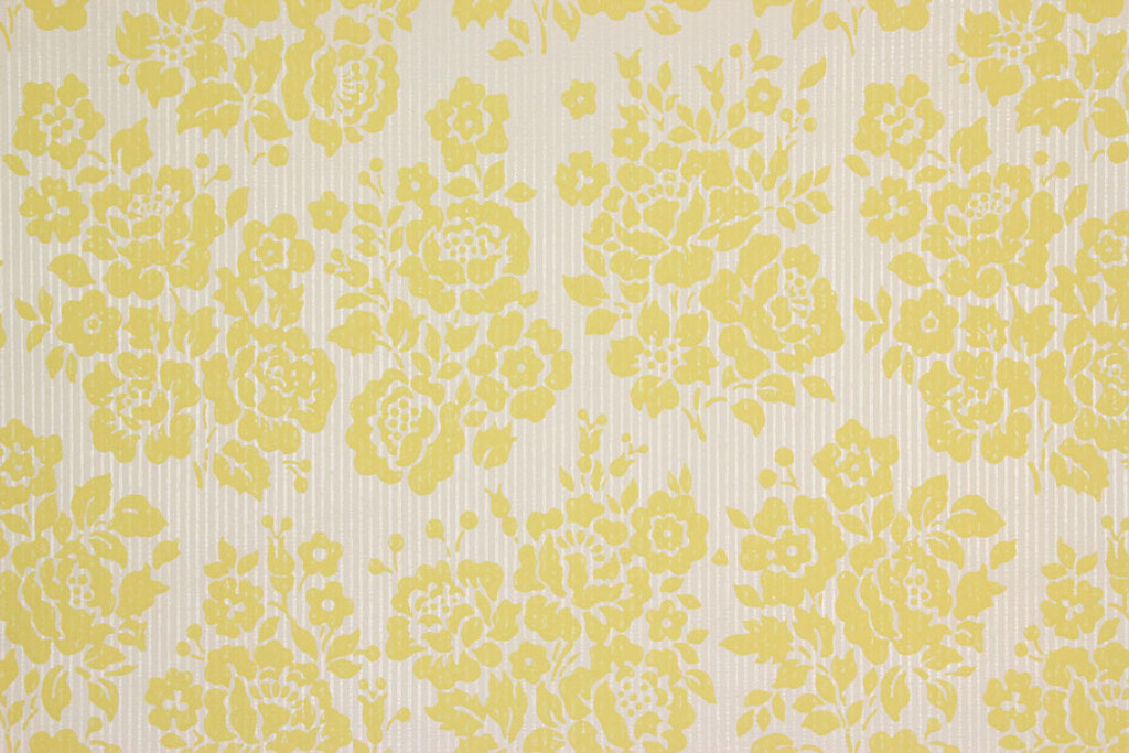 1960s Vintage Wallpaper Rose Bouquets Yellow