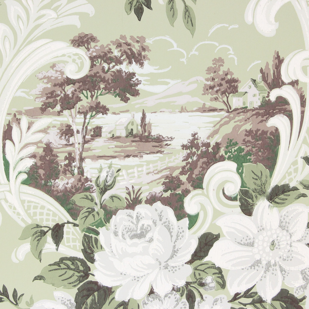 1940s Vintage Wallpaper Scenic Scrolls and White Roses Green