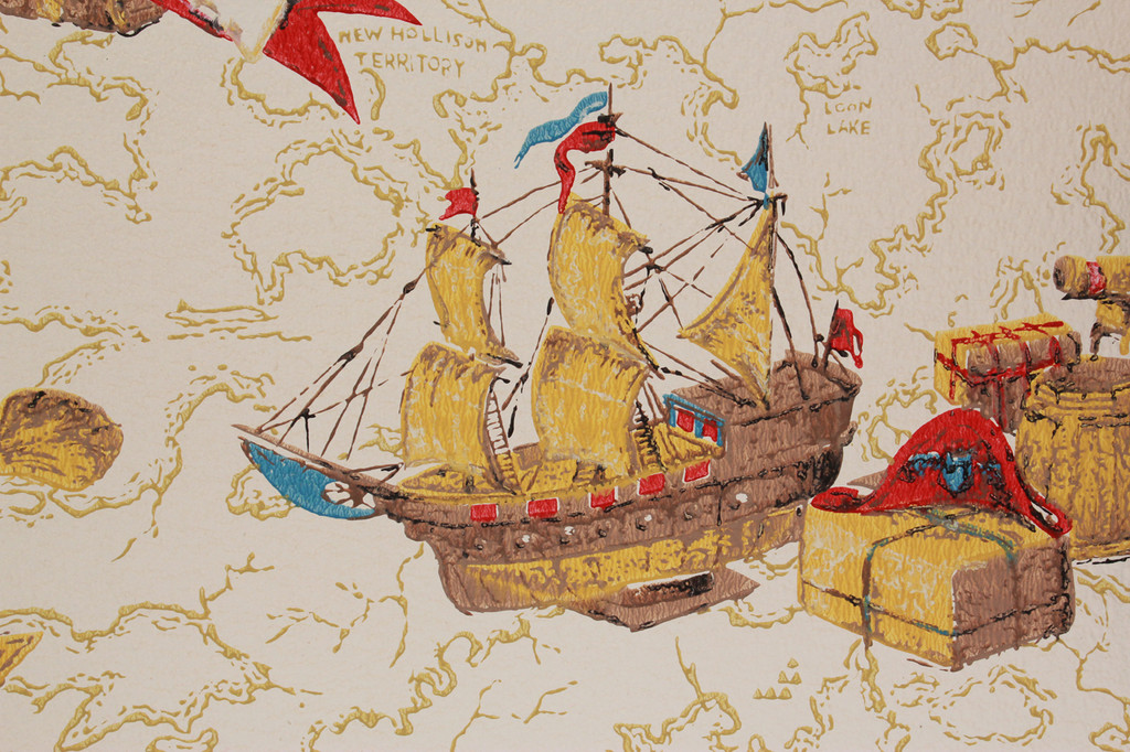 1970s Vintage Wallpaper Ships and Maps