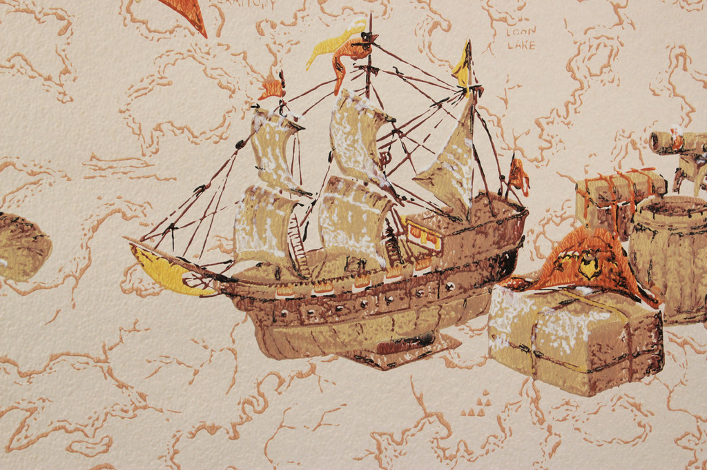 1970s Vintage Wallpaper Ships and Maps Orange