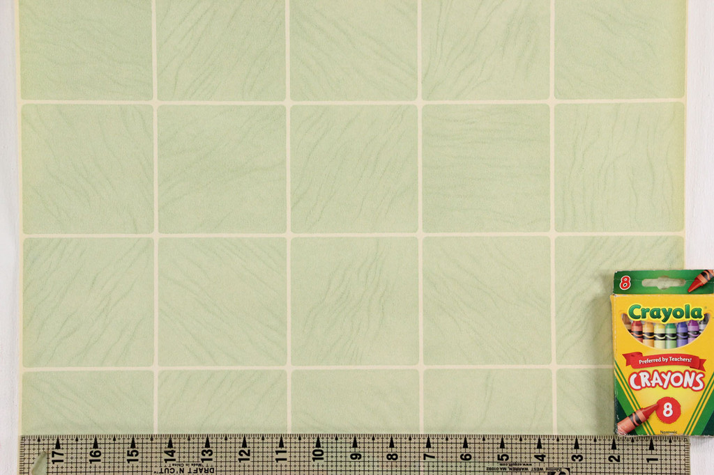 1930s Vintage Wallpaper Faux Green Tiles