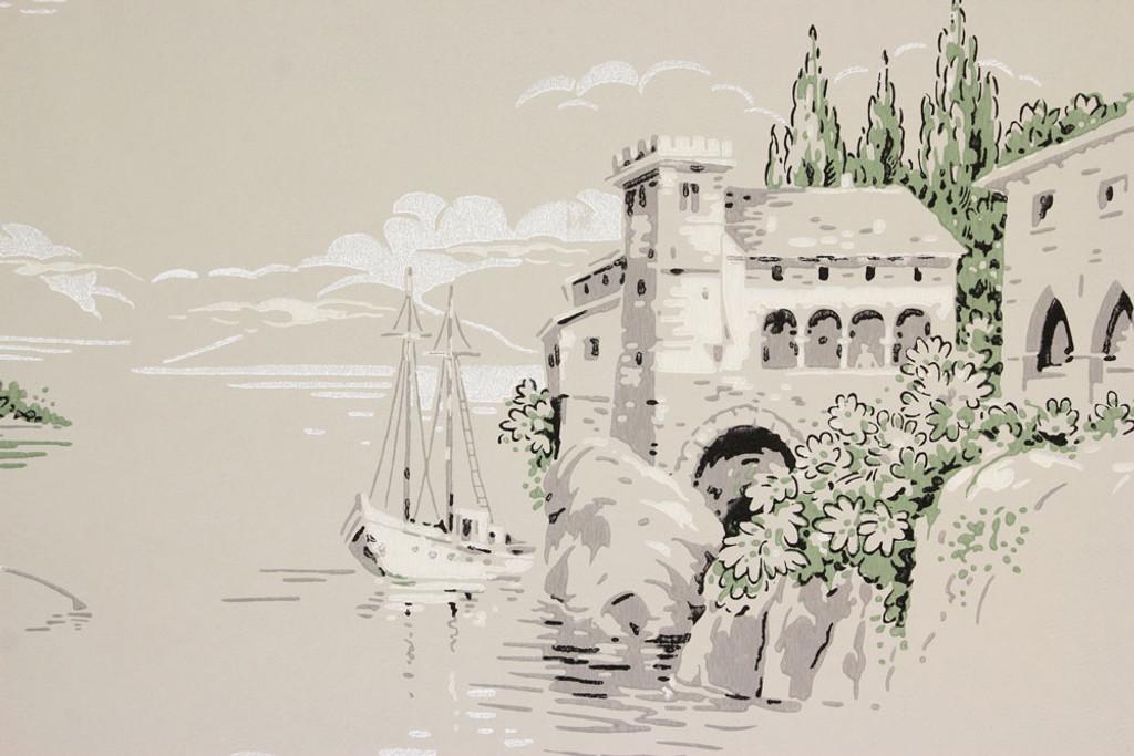 1940s Vintage Wallpaper Villas Sailboats