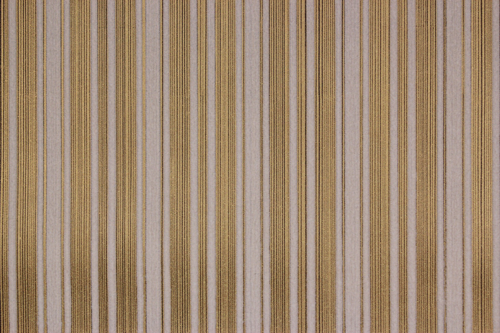 1970s Vintage Wallpaper White Flock Stripe on Gold Black Pinstripe