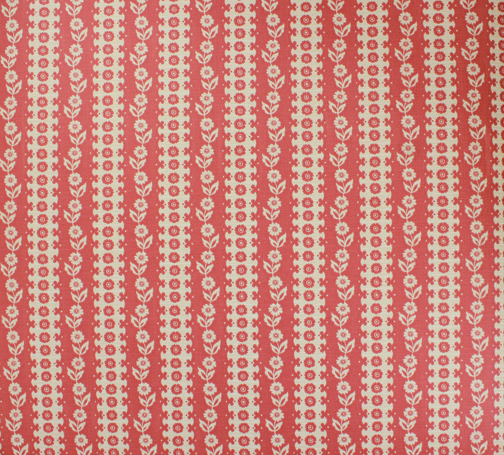 1970s Vintage Wallpaper White Floral on Red