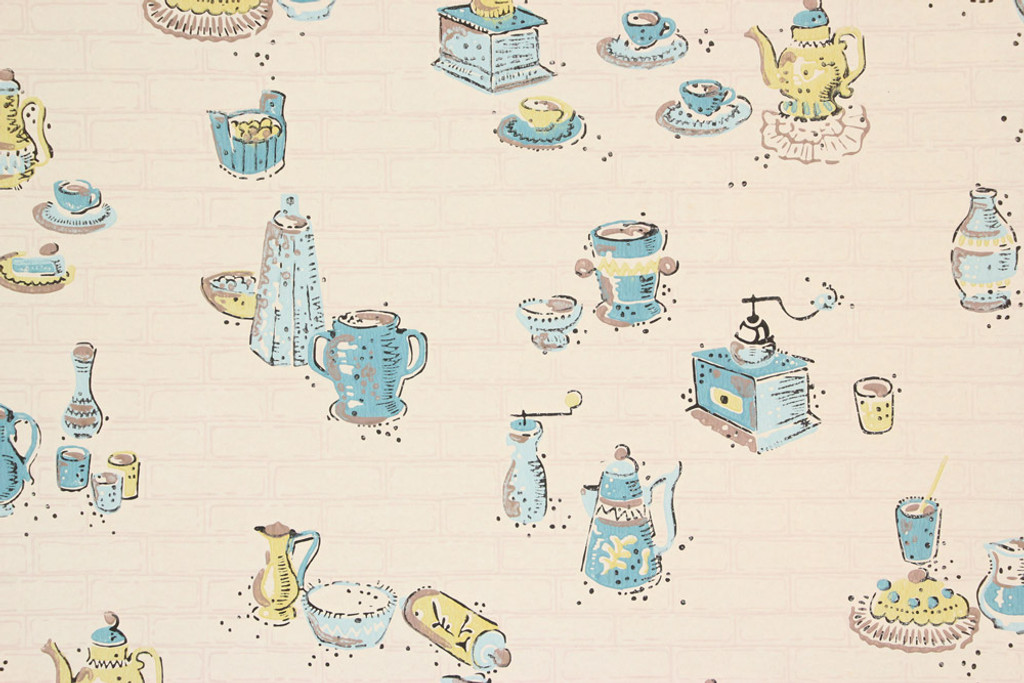 1940s Vintage Wallpaper Yellow And Blue Kitchen Rosie S Vintage