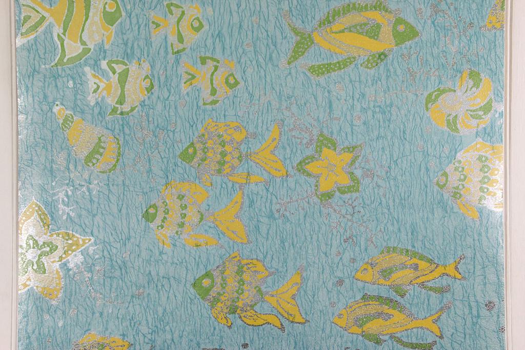 1970s Vintage Wallpaper Fish on Foil