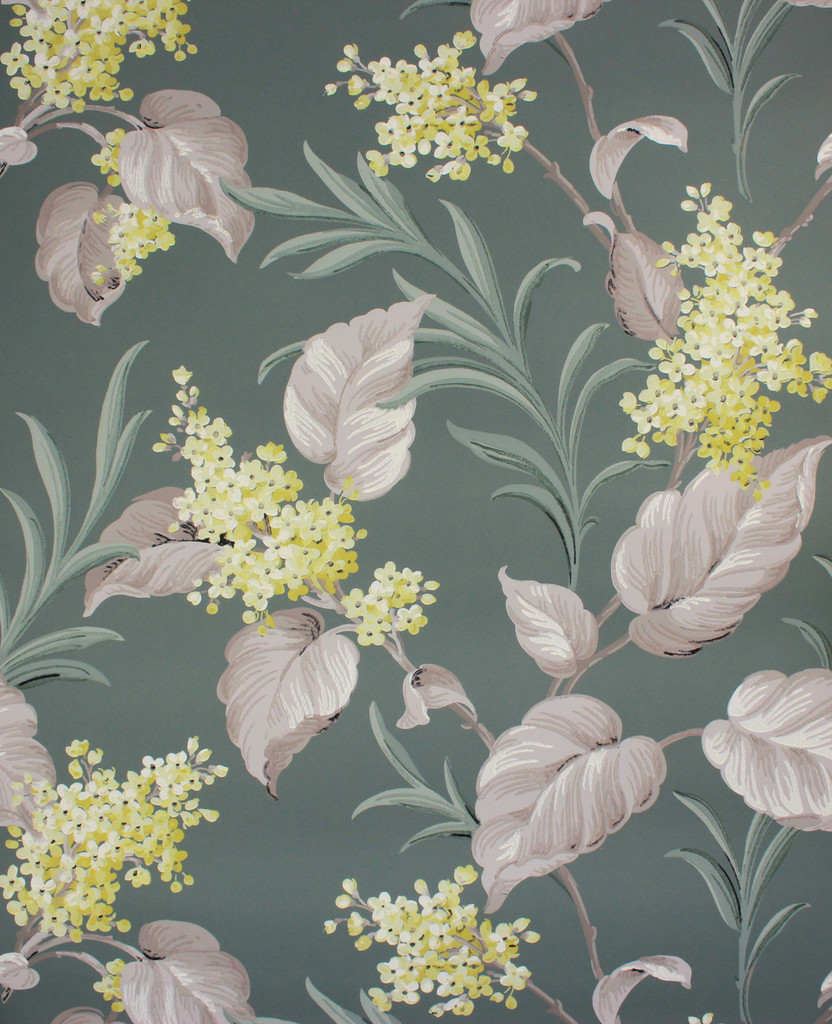 1950s Vintage Wallpaper Yellow Flowers and White Leaves on Green