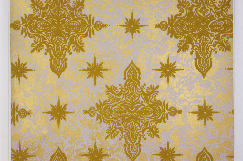 1970s Vintage Wallpaper Flock Yellow Gold Starbursts