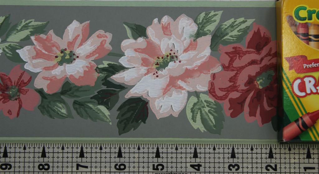 Trimz Vintage Wallpaper Border Floral Decor Green