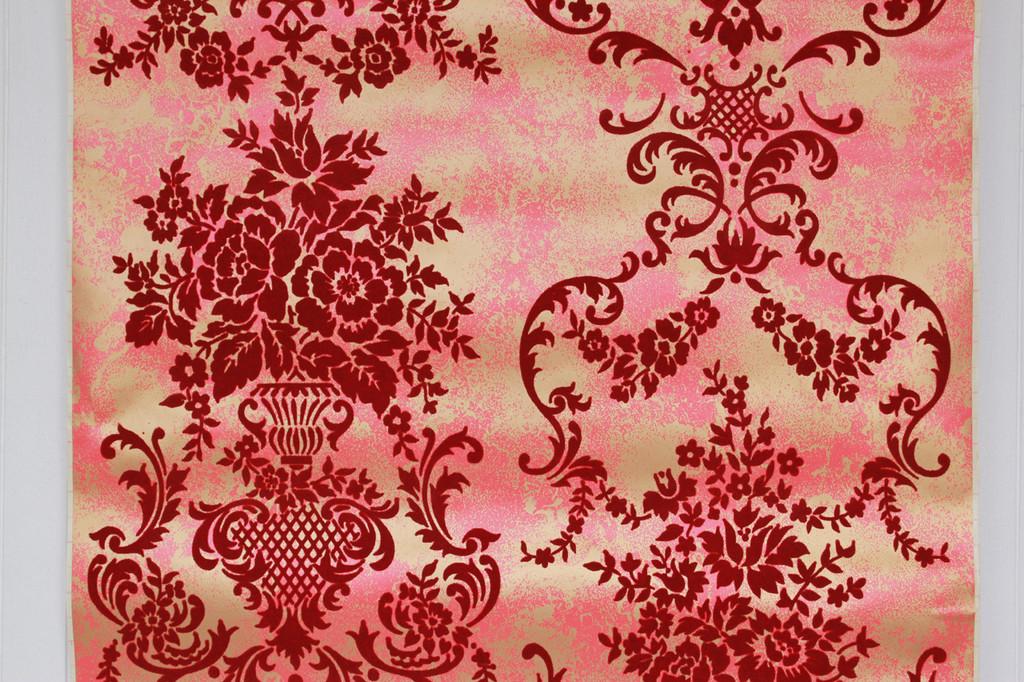 1970s Vintage Wallpaper Red Flock Contact Peel n Stick