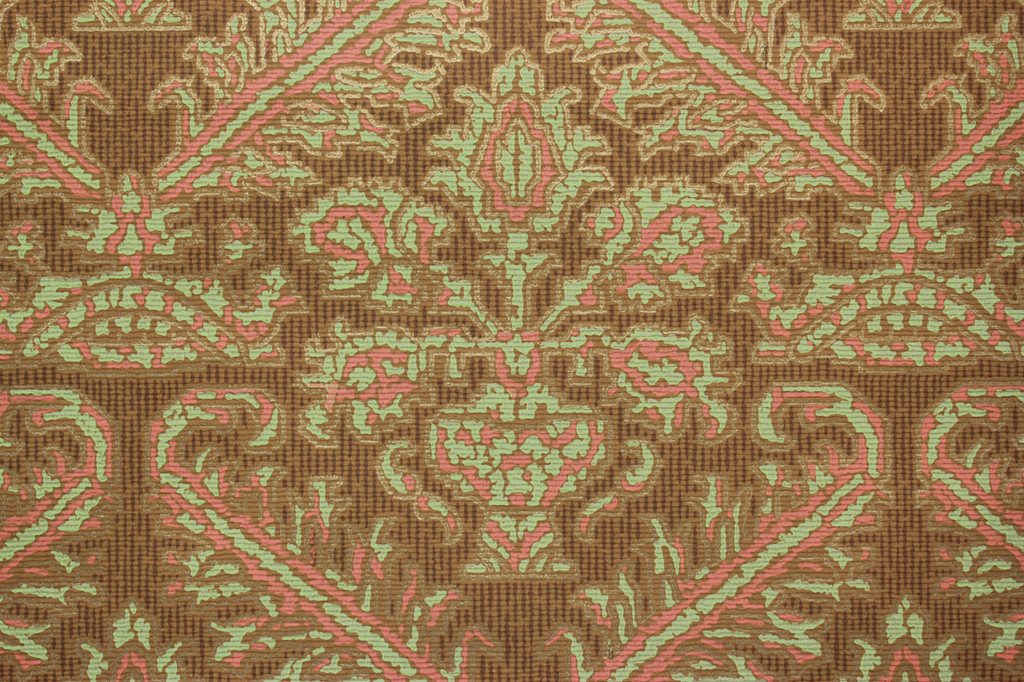 1970s Vintage Wallpaper Damask Design Coral and Green on Brown
