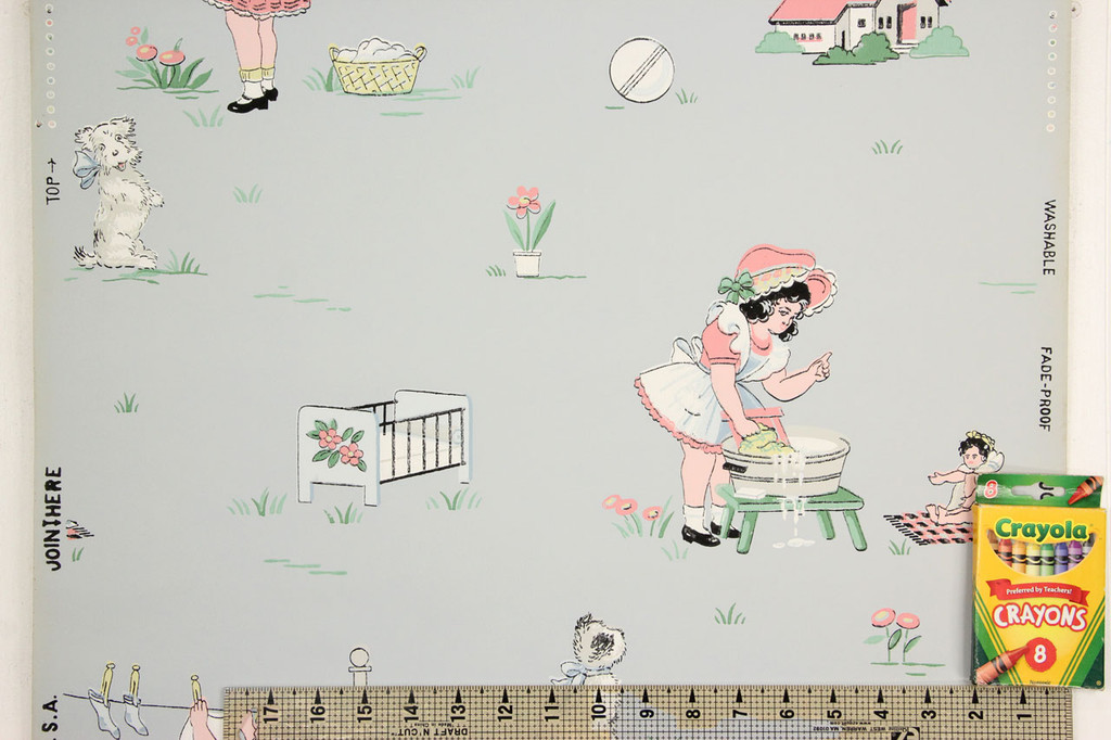 1940s Vintage Wallpaper Childrens Nursery on Blue