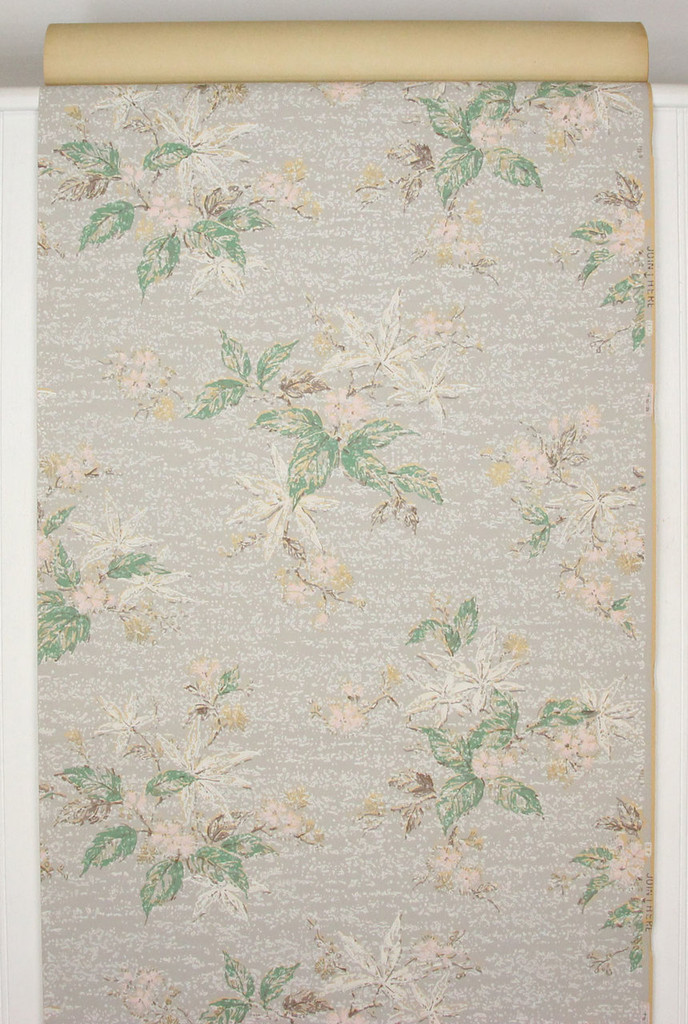 1930s Vintage Wallpaper Pink Flowers on Gray