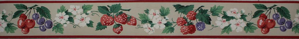 Dex Vintage Wallpaper Border Berry Blossom