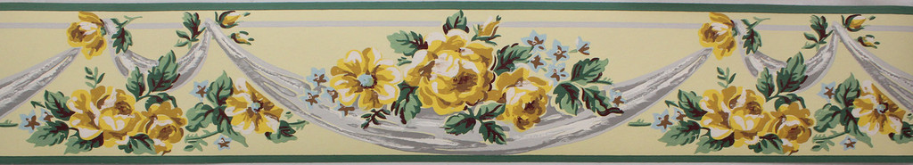 Imperial Vintage Wallpaper Border Roses on Yellow