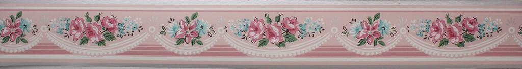Trimz Vintage Wallpaper Border Rose Swag