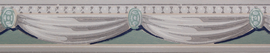 Trimz Vintage Wallpaper Border Swag Blue