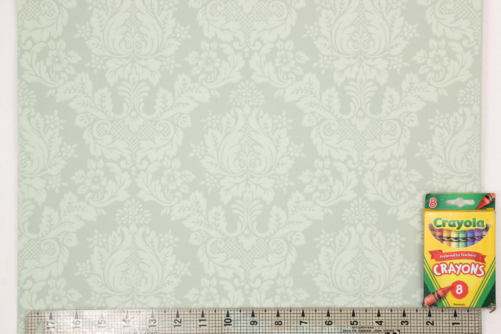 1950s Vintage Wallpaper Pretty Floral Damask on Green