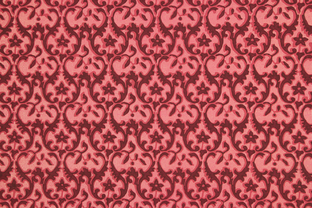 1950s Vintage Wallpaper Dark Red Damask on Red