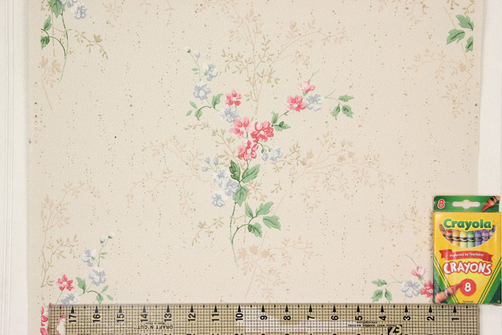 1940s Vintage Wallpaper Pink and Blue Flower Bouquets