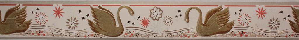 Trimz Vintage Wallpaper Border Swan Gold