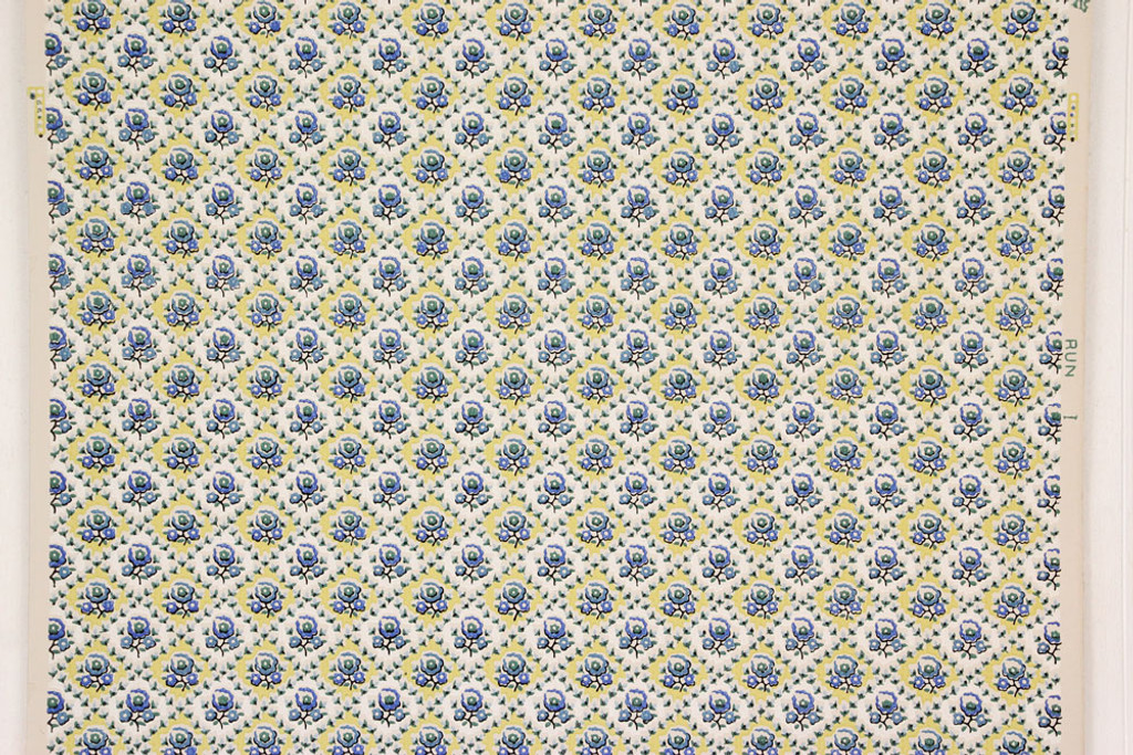 1940s Vintage Wallpaper Blue Flowers on Yellow White Geometric