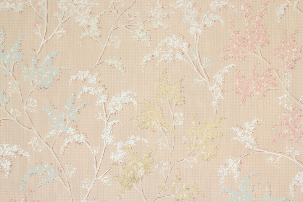 1960s Vintage Wallpaper Silver and Gold Metallic Trees on Pink