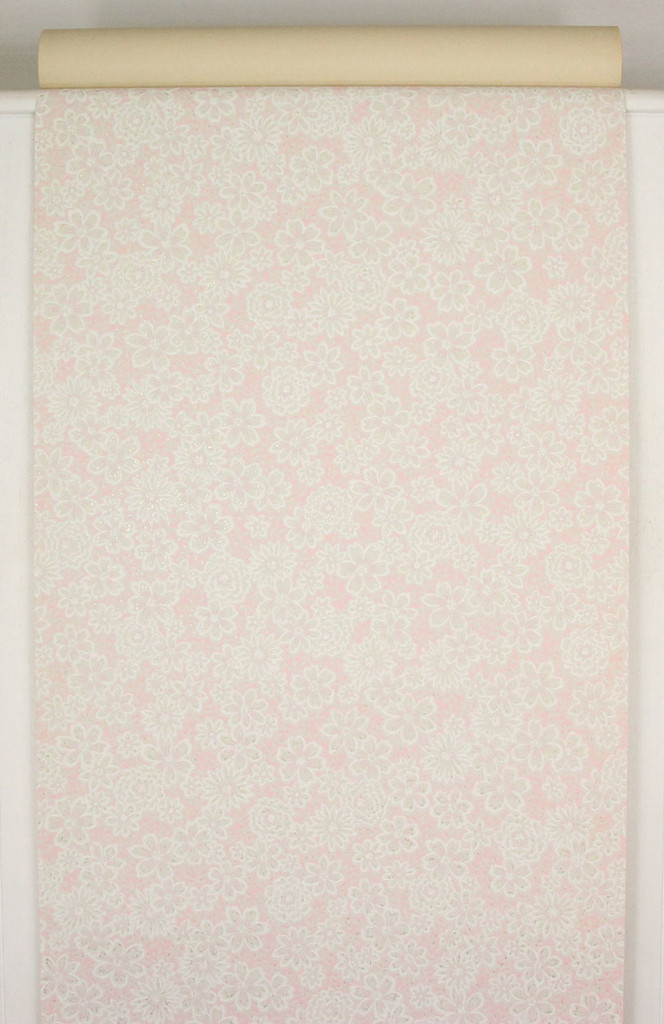 1960s Vintage Wallpaper White Flowers on Pink and Gray
