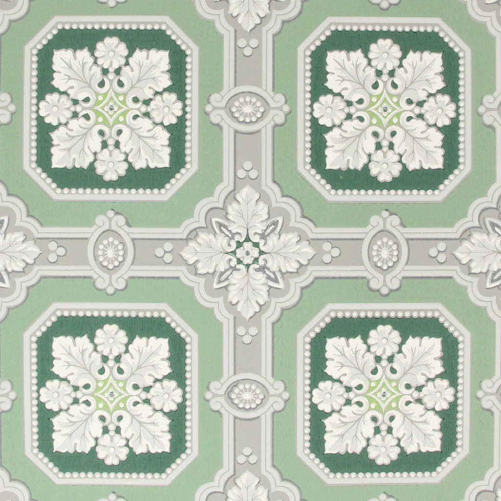 1950s Vintage Wallpaper White Green Floral Tiles