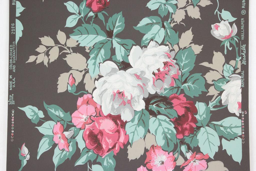 1950s Vintage Wallpaper Cabbage Rose Bouquet Rosie S Vintage Wallpaper