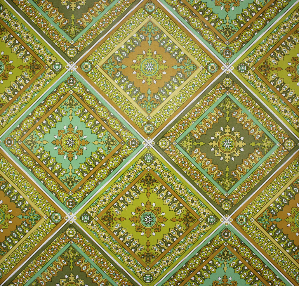 1970s Vintage Wallpaper Vinyl Green and Brown Geometric