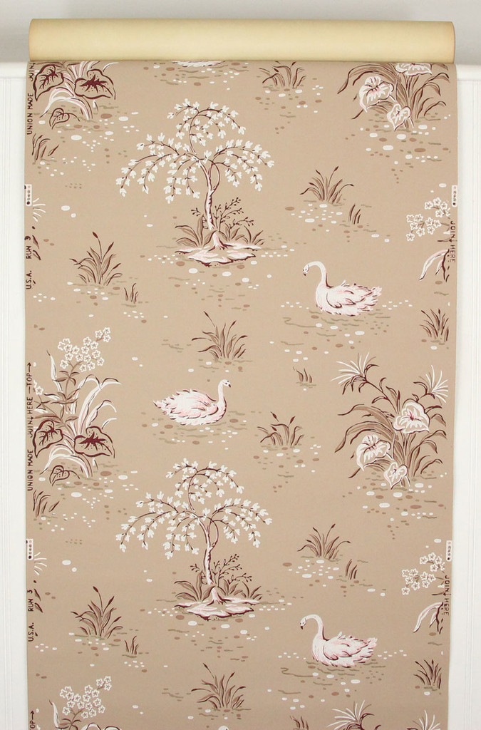 1940s Vintage Wallpaper Swans on Brown