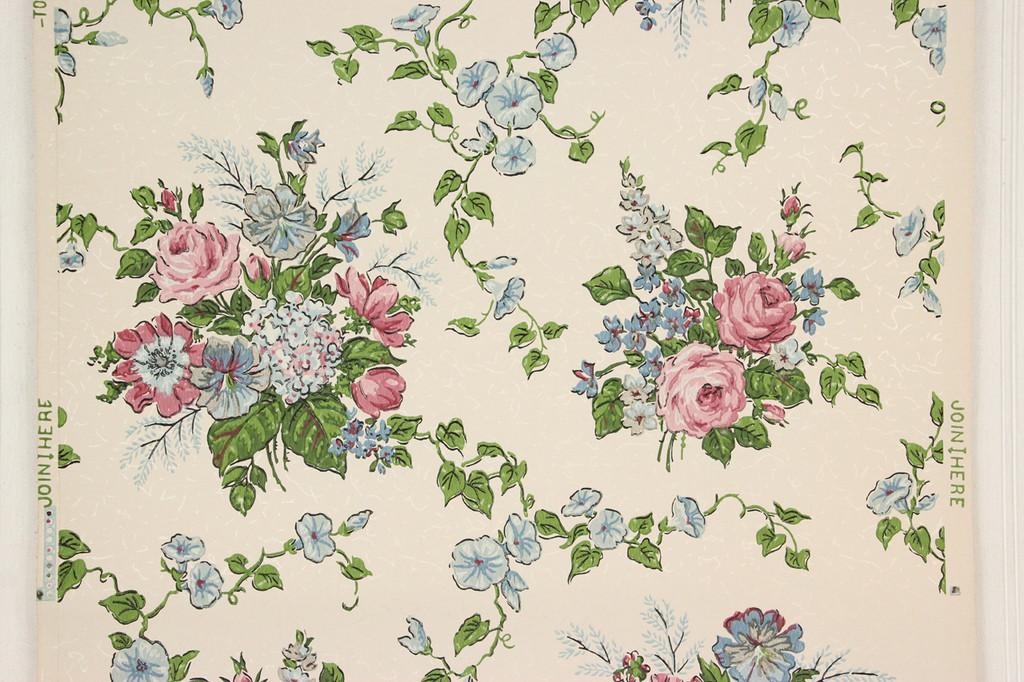 1950s vintage wallpaper pink roses