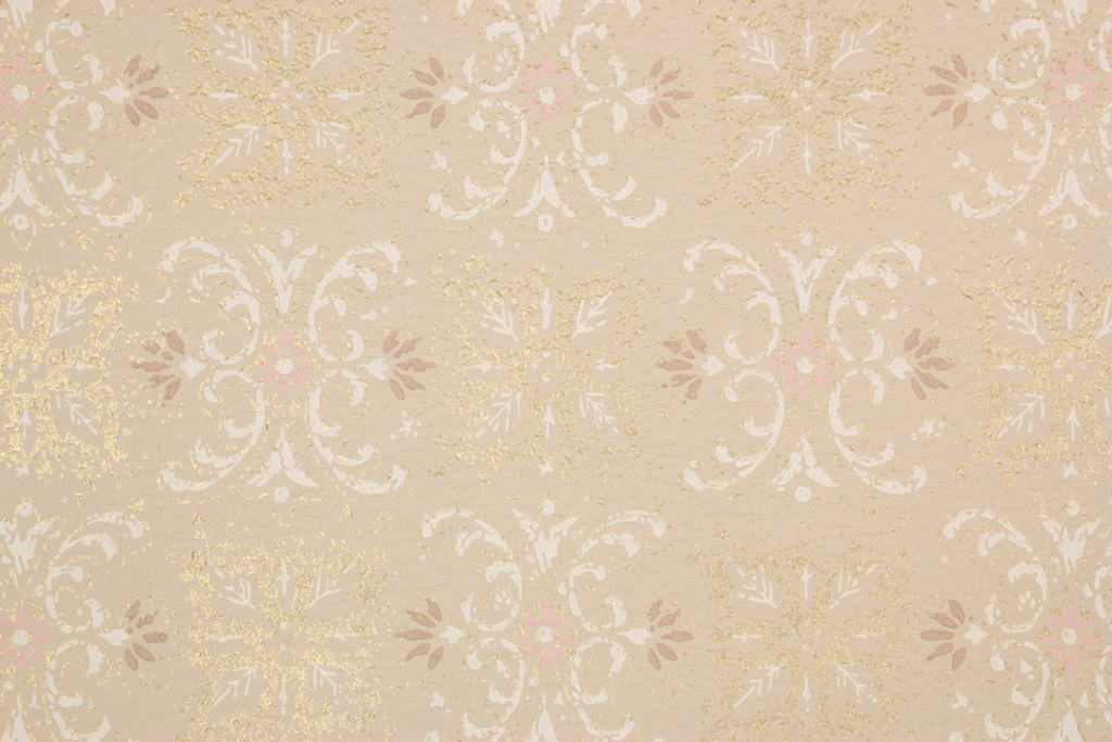 1950s Vintage Wallpaper Pink White and Gold Metallic Geometric