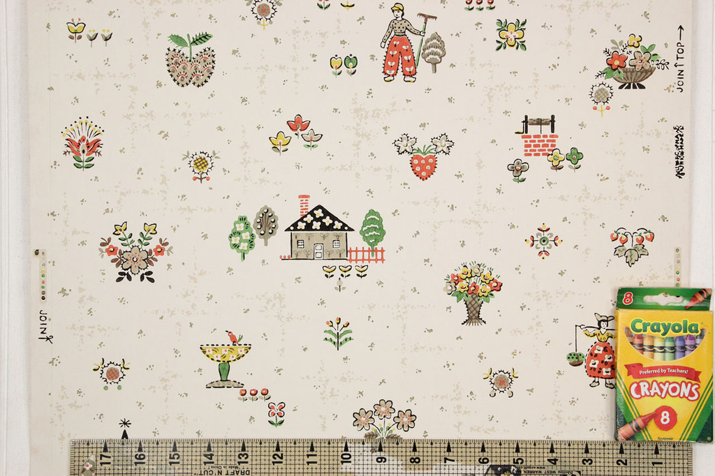 1940s Vintage Wallpaper Dutch Theme Windmill