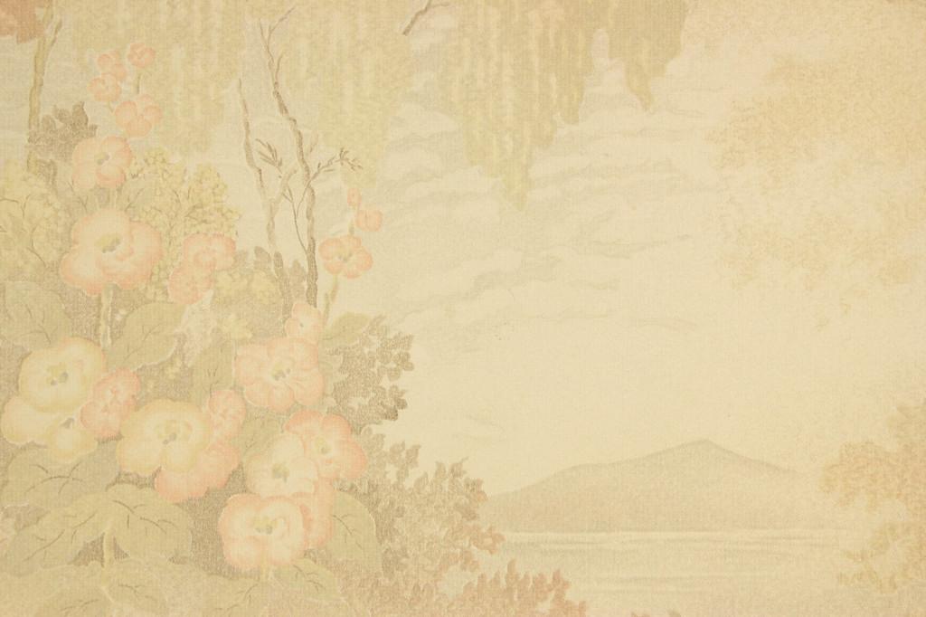 1930s Vintage Wallpaper Scenic Lake