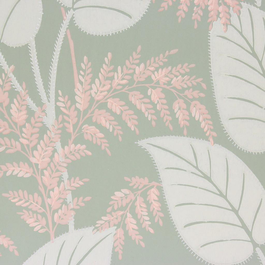 1950s Vintage Wallpaper Pink White Leaves on Green