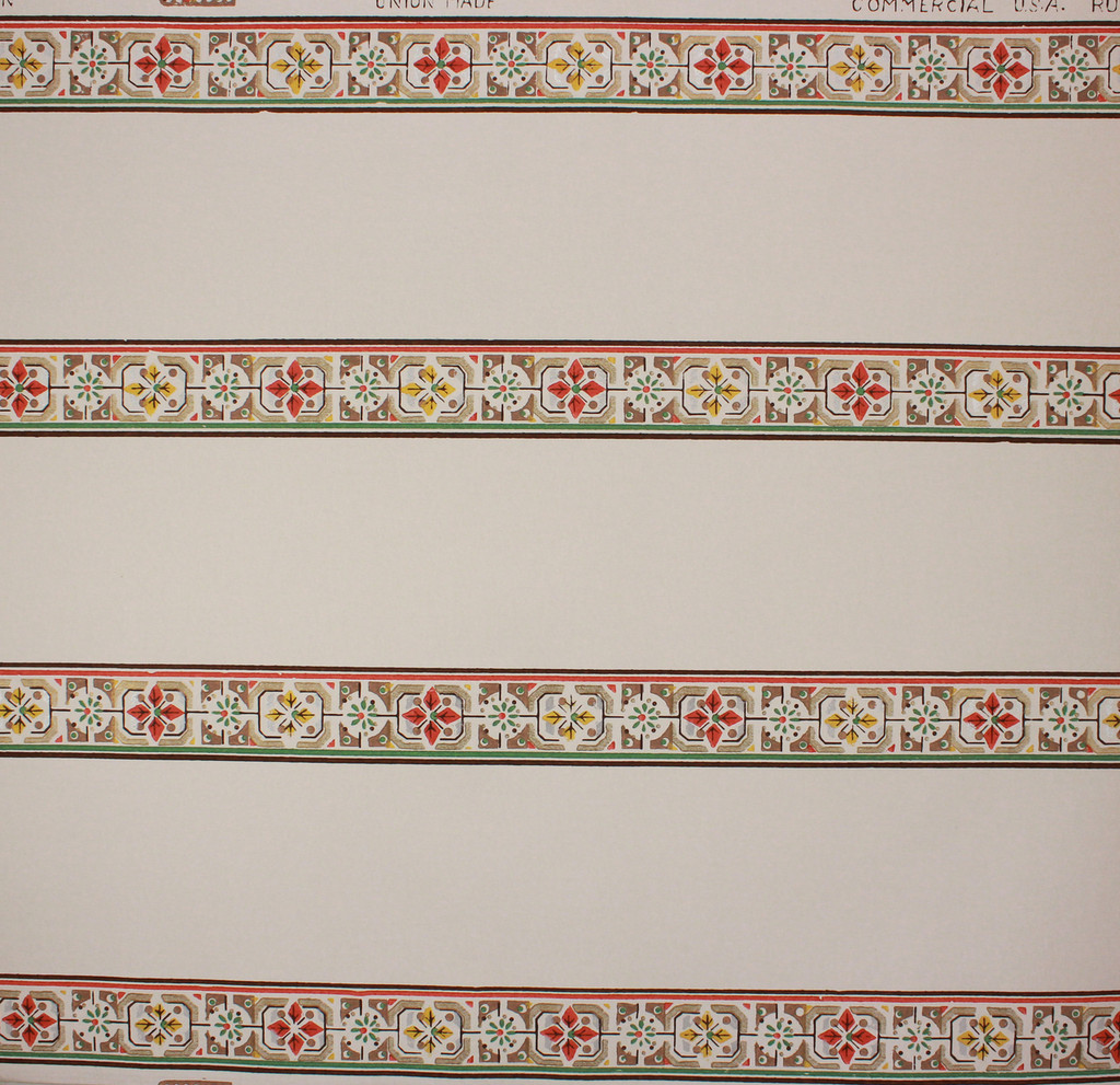 1940s Vintage Wallpaper Border Orange and Yellow Band