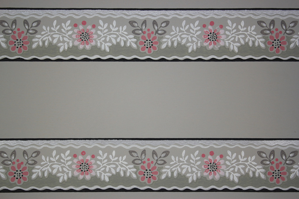 1940s Vintage Wallpaper Border Pink Flowers on Gray