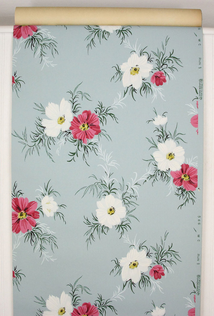 1940s Vintage Wallpaper Pink and White Flowers on Blue