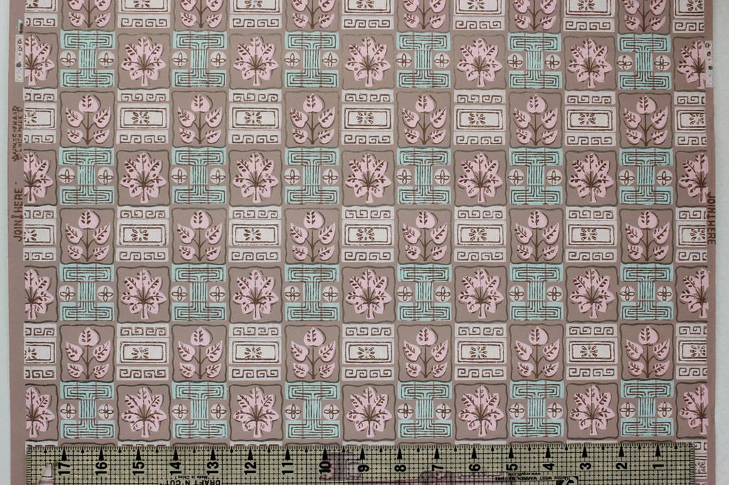 1950s Vintage Wallpaper Pink Leaf Geometric