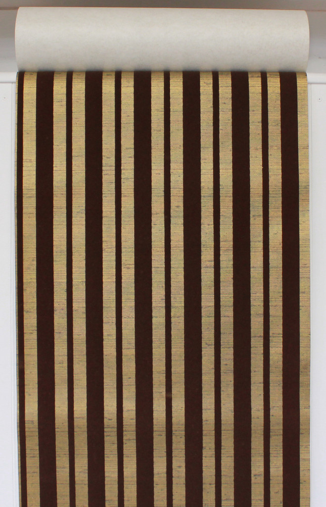 1970s Vintage Wallpaper Brown Flock Stripe on Gold