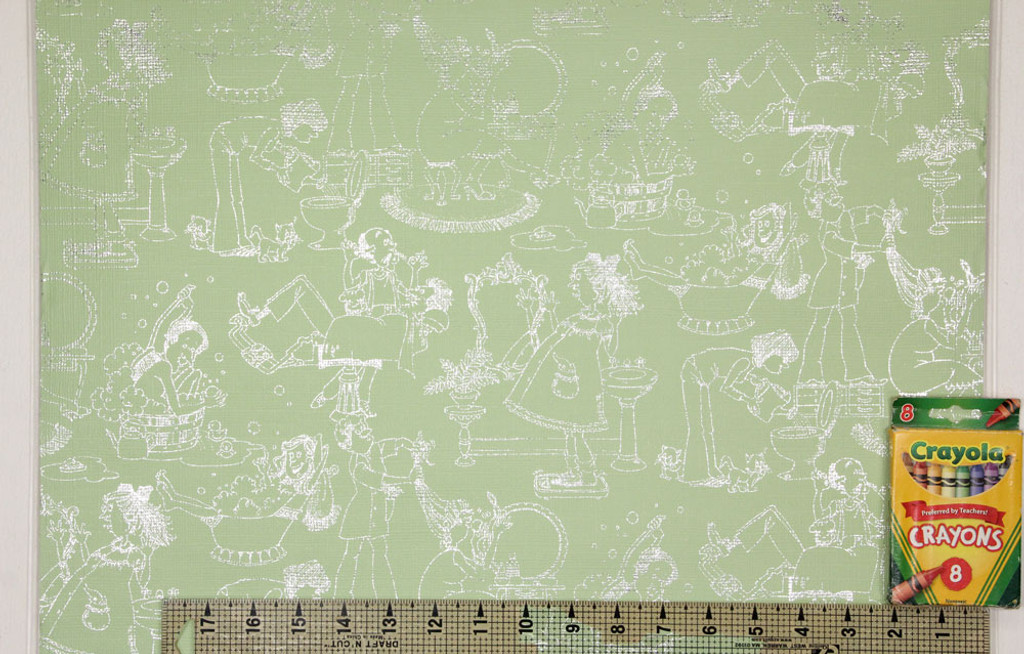 1970s Vintage Wallpaper Bathroom Green Foil